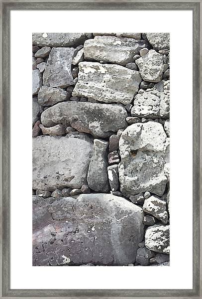 Lava Rock Wall 1 Triptych L Framed Print