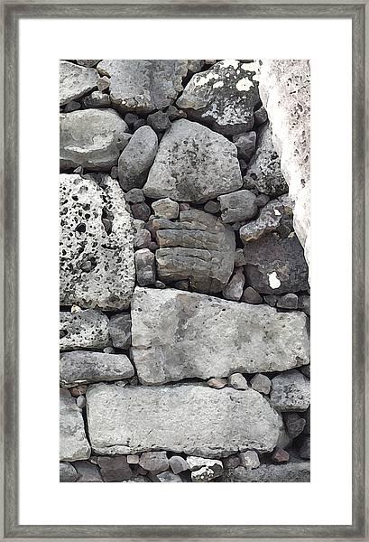 Lava Rock Wall 1 Triptych R Framed Print