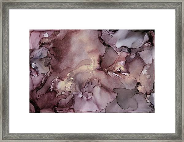 Lavender Gold Swirls Ink Abstract Painting Framed Print