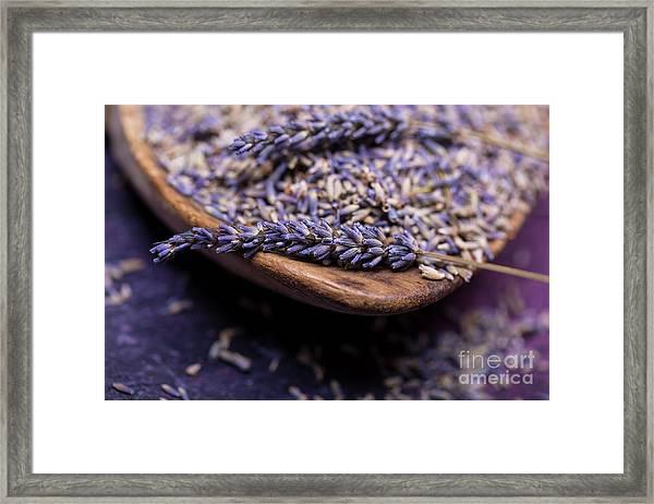 Lavender In A Wooden Scoop Framed Print