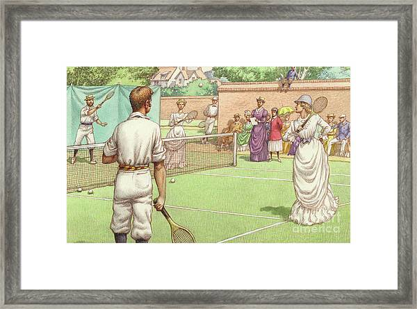 Lawn Tennis Being Played In The Victorian Age Framed Print