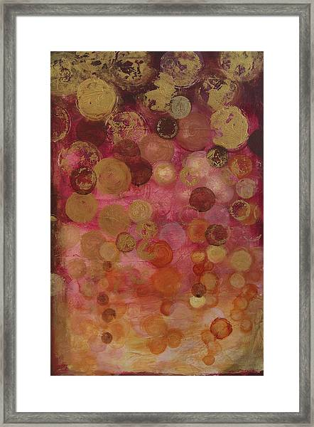 Layers Of Circles On Red Framed Print