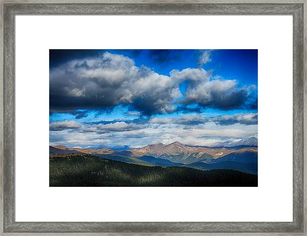 Layers Of Clouds On Mount Evans Framed Print