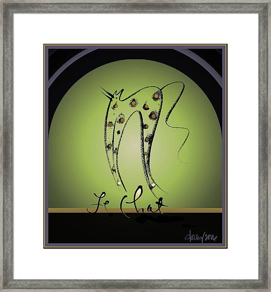 Framed Print featuring the digital art Le Chat - Green And Gold by Larry Talley
