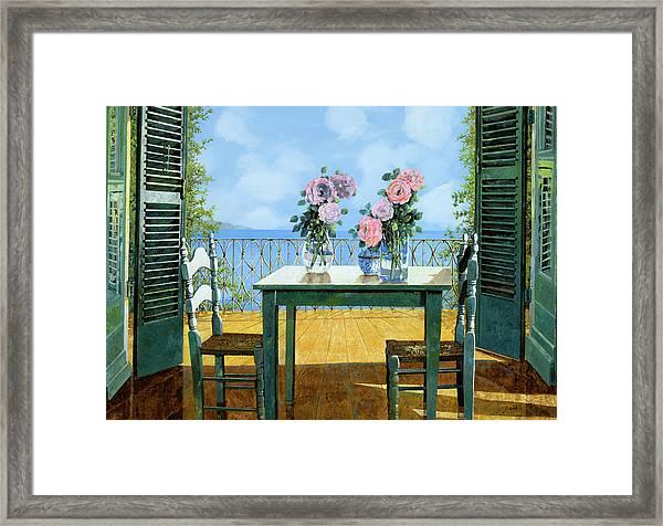 Le Rose E Il Balcone Framed Print