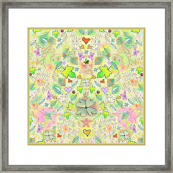 Leaf And Flower And Heart Pattern  Framed Print