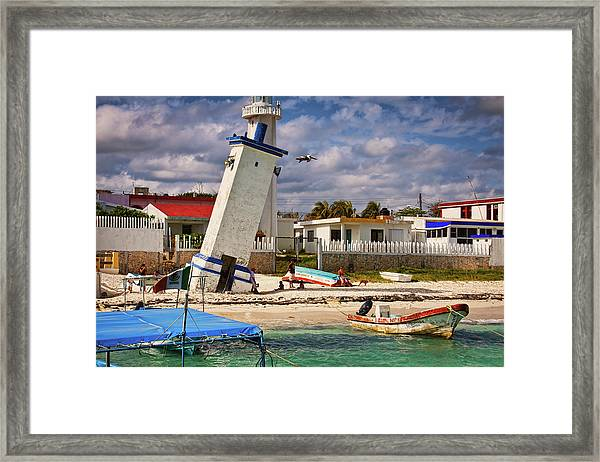 Leaning Lighthouse Framed Print