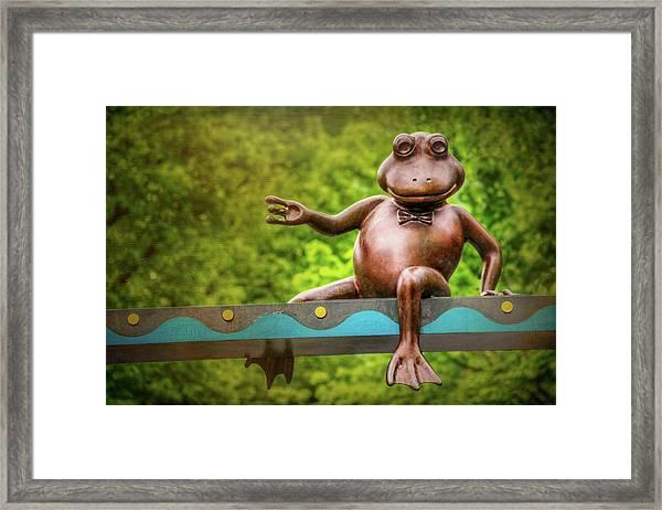 Leaping Frog In Boston  Framed Print by Carol Japp