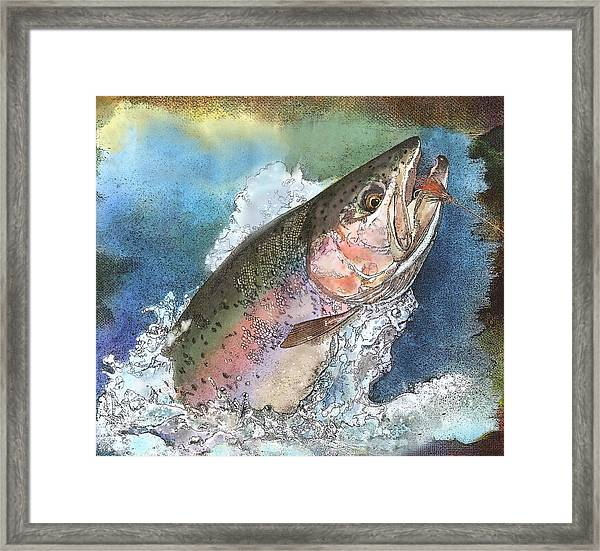 Leaping Rainbow Trout Framed Print