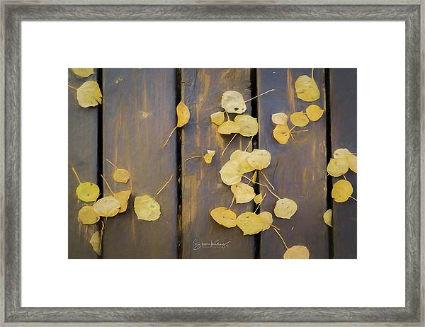 Leaves On Planks Framed Print