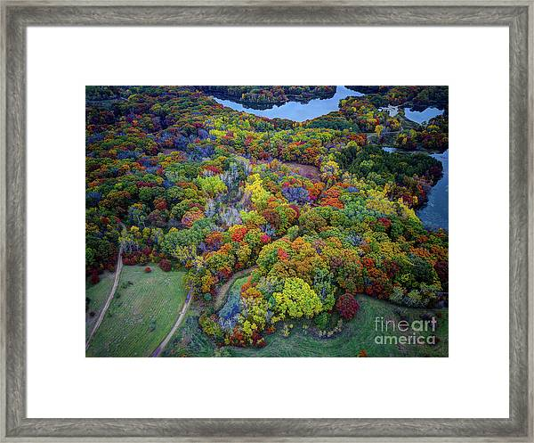 Lebanon Hills Park Eagan Mn Autumn II By Drone Framed Print