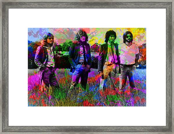 Led Zeppelin Band Portrait Paint Splatters Pop Art Framed Print