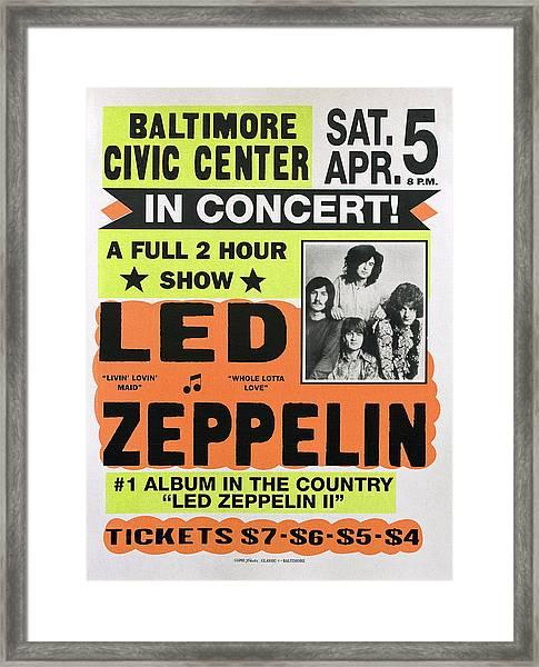 Led Zeppelin Concert Poster 1970 Framed Print