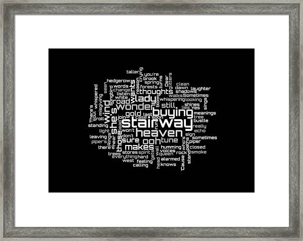 Led Zeppelin - Stairway To Heaven Lyrical Cloud Framed Print