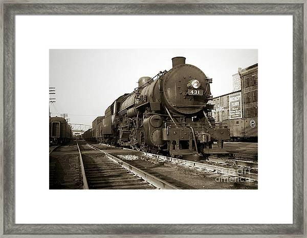 Lehigh Valley Steam Locomotive 431 At Wilkes Barre Pa. 1940s Framed Print