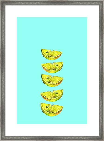 Lemon Slices Turquoise Framed Print