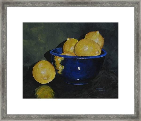 Lemons And Blue Bowl IIi Framed Print