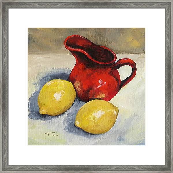 Lemons And Red Creamer Framed Print by Torrie Smiley