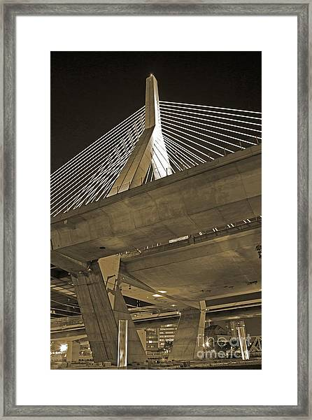 Leonard P. Zakim Bunker Hill Bridge In Sepia Framed Print