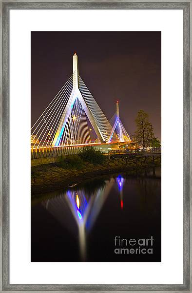 Leonard P. Zakim Bunker Hill Bridge Reflection Framed Print