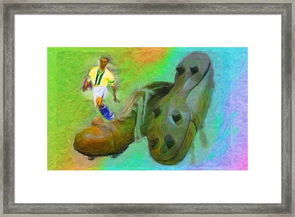 Leonidas And Soccer Shoes Framed Print