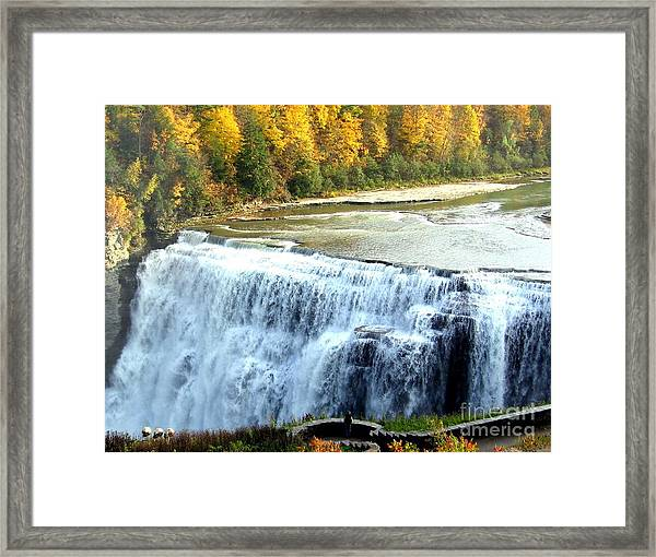 Letchworth State Park Middle Falls Autumn Framed Print