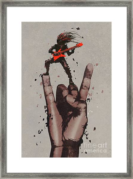 Framed Print featuring the painting Let's Rock by Tithi Luadthong