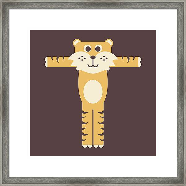 Letter T - Animal Alphabet - Tiger Monogram Framed Print