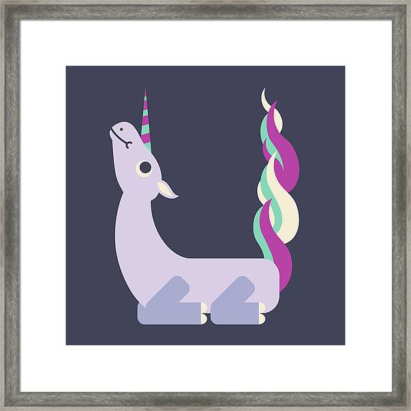 Letter U - Animal Alphabet - Unicorn Monogram Framed Print