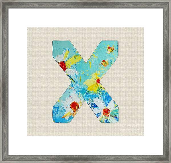Letter X Roman Alphabet - A Floral Expression, Typography Art Framed Print