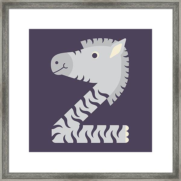 Letter Z - Animal Alphabet - Zebra Monogram Framed Print