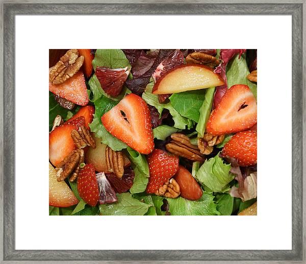 Lettuce Strawberry Plum Salad Framed Print