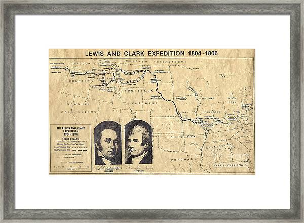 Lewis And Clark Expedition Map Framed Print