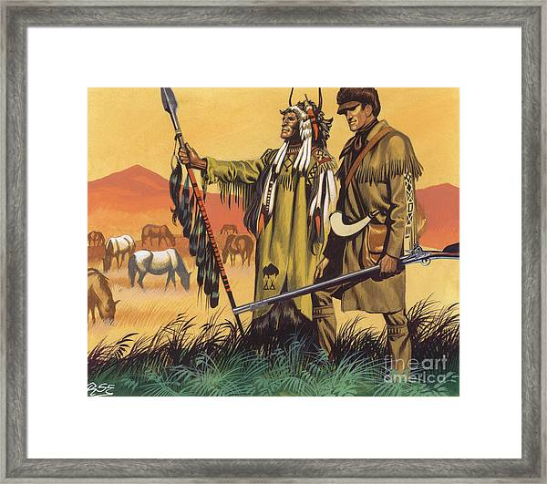 Lewis And Clark Expedition Scene Framed Print