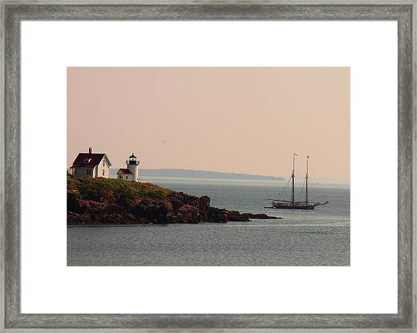 Lewis R French At The Curtis Island Lighthouse Framed Print