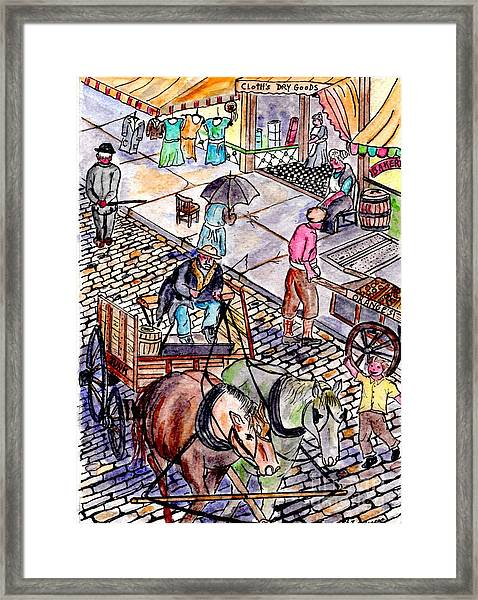 Life As It Was In Columbia And Union Streets Framed Print
