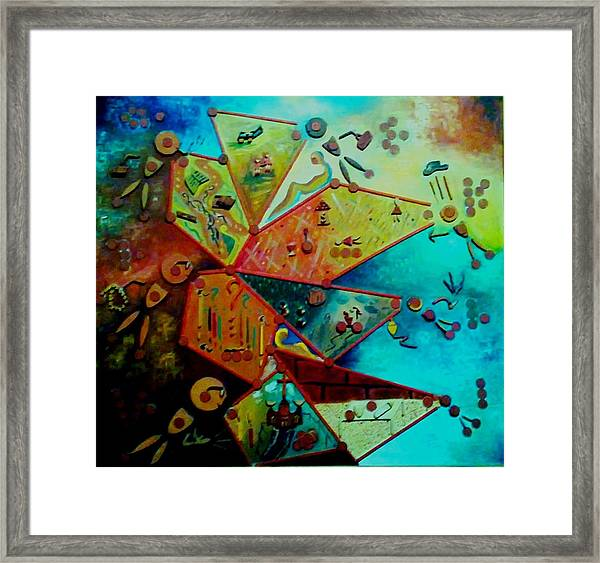 Framed Print featuring the painting Life Cycle 1 by Ray Khalife