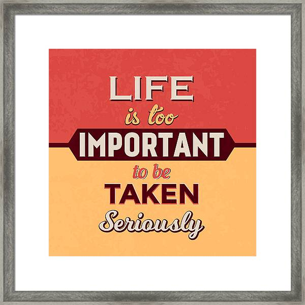 Life Is Too Important Framed Print