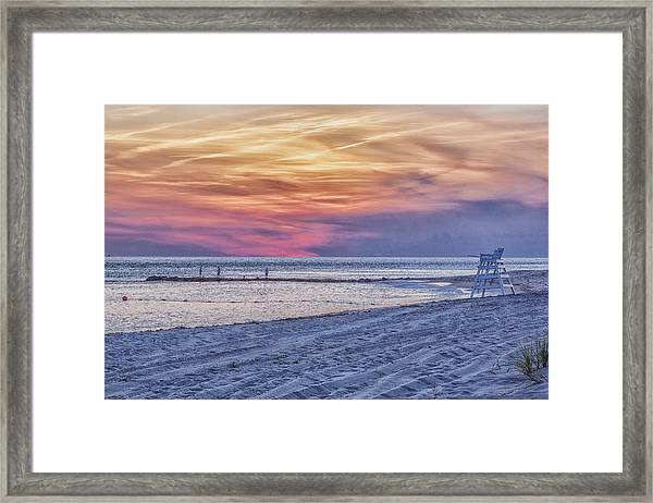 Lifeguard Chair At Sunset Framed Print