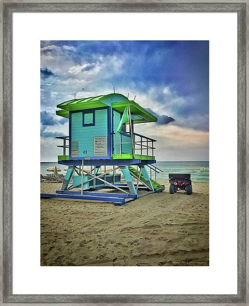 Lifeguard Station - Miami Beach Framed Print