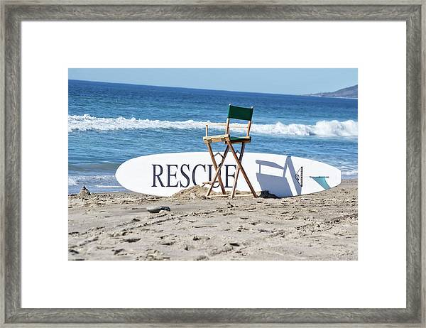 Lifeguard Surfboard Rescue Station  Framed Print