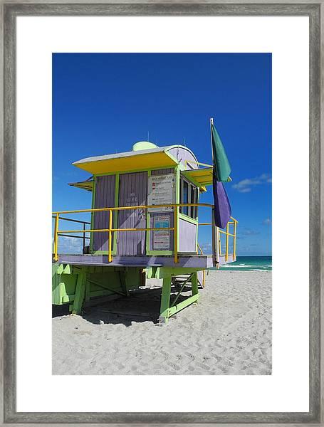 Lifeguard Tower 2 - South Beach - Miami Framed Print