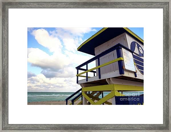 Lifeguard View On South Beach Framed Print by John Rizzuto