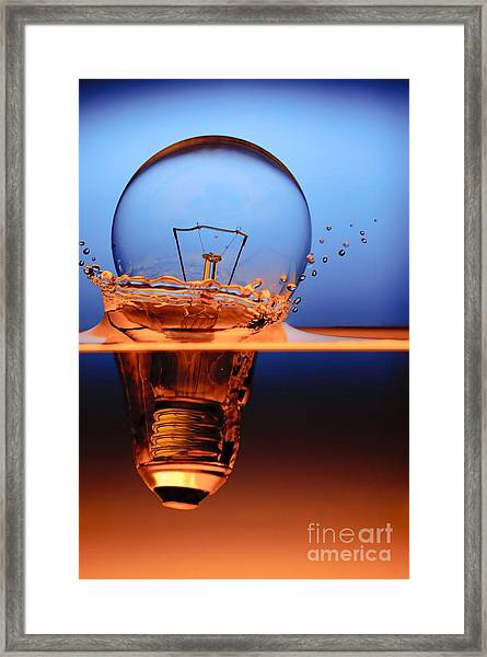 Light Bulb And Splash Water Framed Print