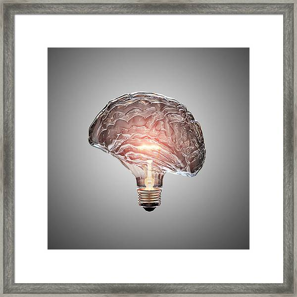 Light Bulb Brain Framed Print
