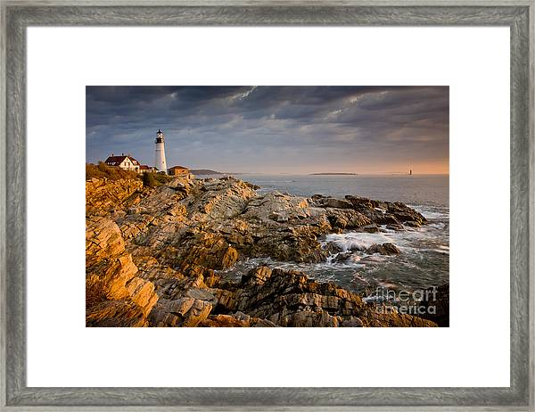Framed Print featuring the photograph Light On Portland Head by Susan Cole Kelly