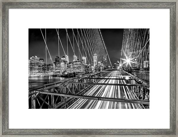 Light Trails Of Manhattan Framed Print
