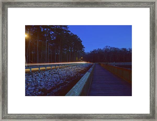 Light Trails On Elbow Road Framed Print