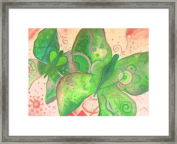 Lighthearted In Green On Red Framed Print