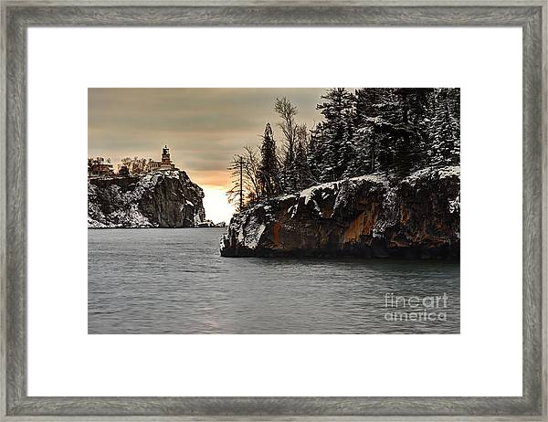 Lighthouse And Island At Dawn Framed Print